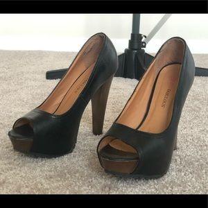 Black Just (Fab) Fabulous peep toe Heels.